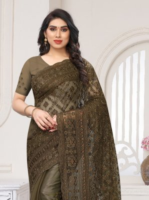 Net Brown Embroidered Designer Saree