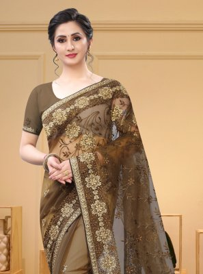 Net Brown Embroidered Traditional Saree