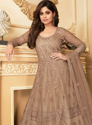 Net Brown Salwar Kameez