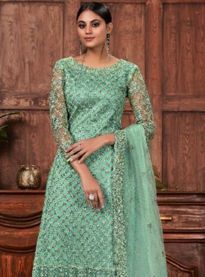 Net Cord Salwar Suit in Green
