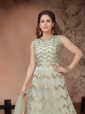 Net Cream Anarkali Salwar Suit
