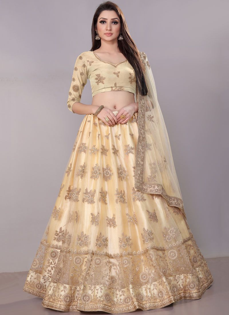 Net Cream Embroidered Lehenga Choli