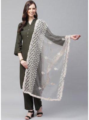 Net Designer Dupatta in Off White