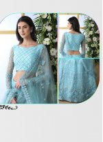 Net Designer Lehenga Choli in Blue