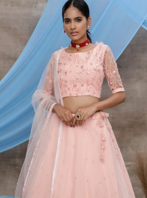 Net Designer Lehenga Choli in Peach