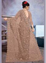 Net Designer Saree in Brown
