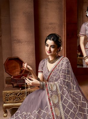 Net Designer Saree in Mauve