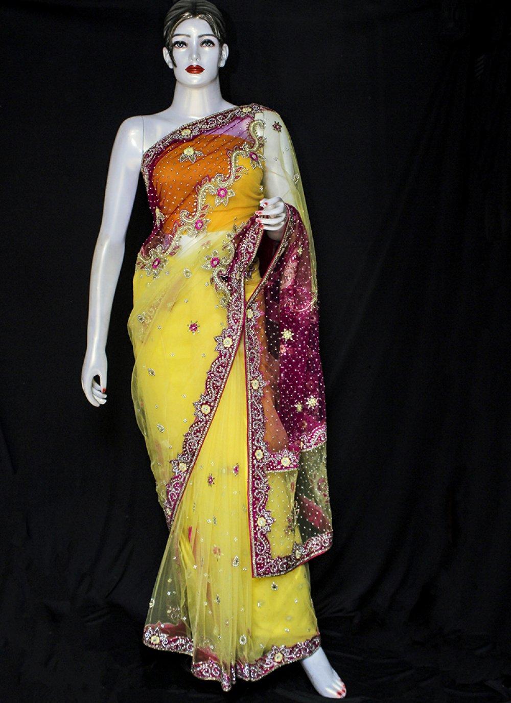 Net Designer Saree in Yellow