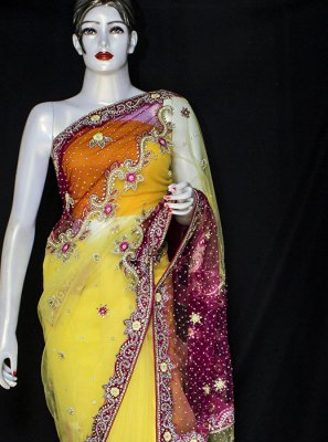 Net Designer Saree in Yellow
