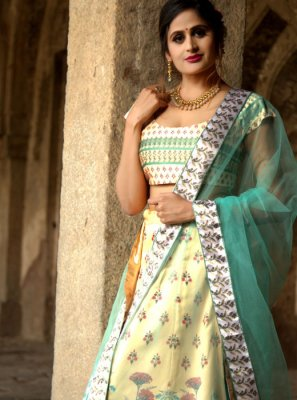Net Digital Print A Line Lehenga Choli