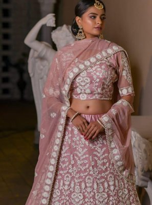 Net Embroidered A Line Lehenga Choli