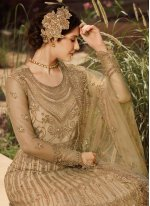 Net Embroidered Anarkali Salwar Suit in Gold