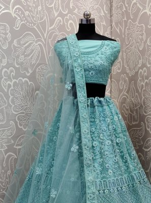 Net Embroidered Aqua Blue Trendy Lehenga Choli