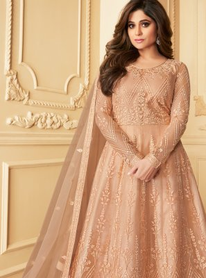 Net Embroidered Beige Anarkali Suit