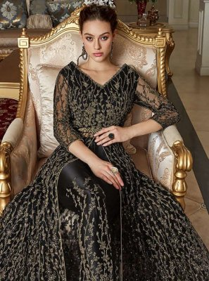 Net Embroidered Black Pant Style Suit