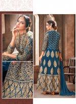 Net Embroidered Blue Trendy Anarkali Salwar Kameez