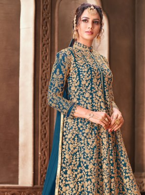 Net Embroidered Blue Trendy Anarkali Salwar Kameez