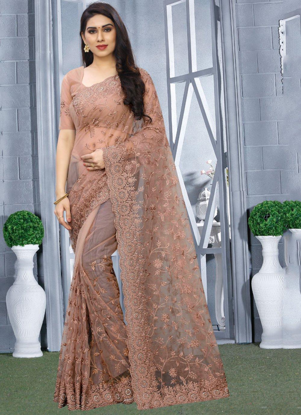 Net Embroidered Brown Classic Designer Saree