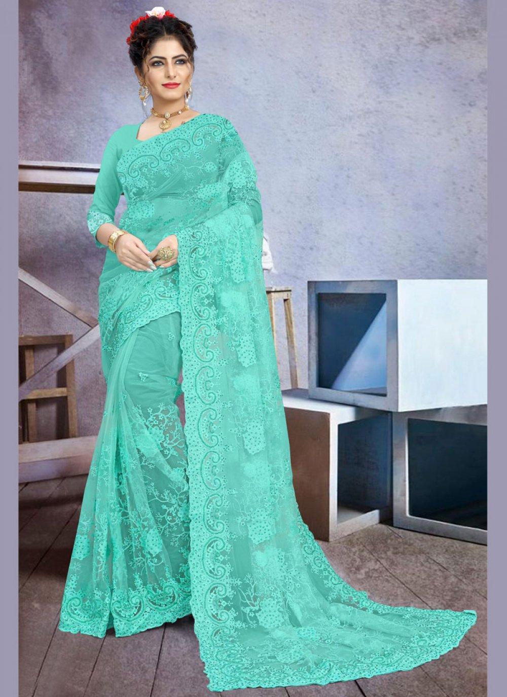 Net Embroidered Contemporary Saree in Aqua Blue