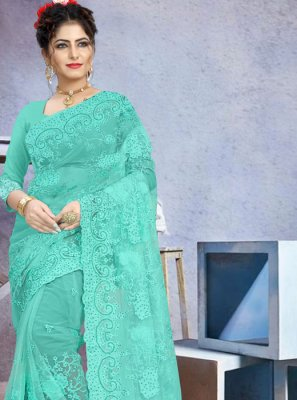 Net Embroidered Contemporary Saree in Aqua Blue