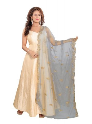 Net Embroidered Designer Dupatta in Grey