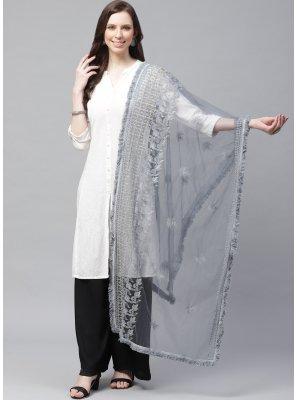 Net Embroidered Designer Dupatta in Grey