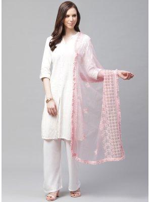 Net Embroidered Designer Dupatta in Pink