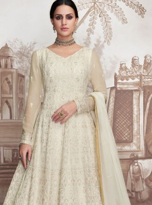 Net Embroidered Designer Floor Length Suit in White