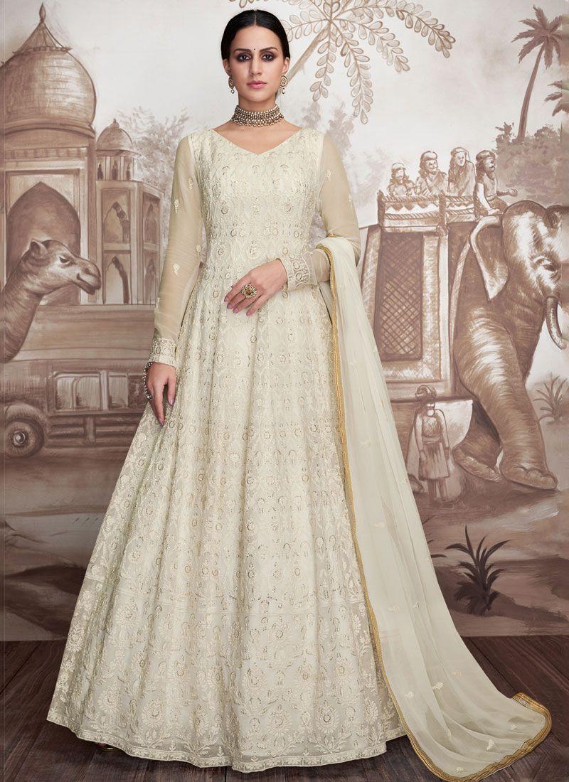 Net Embroidered Designer Floor Length Suit in White