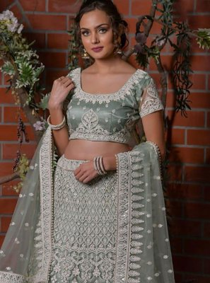 Net Embroidered Designer Lehenga Choli in Grey