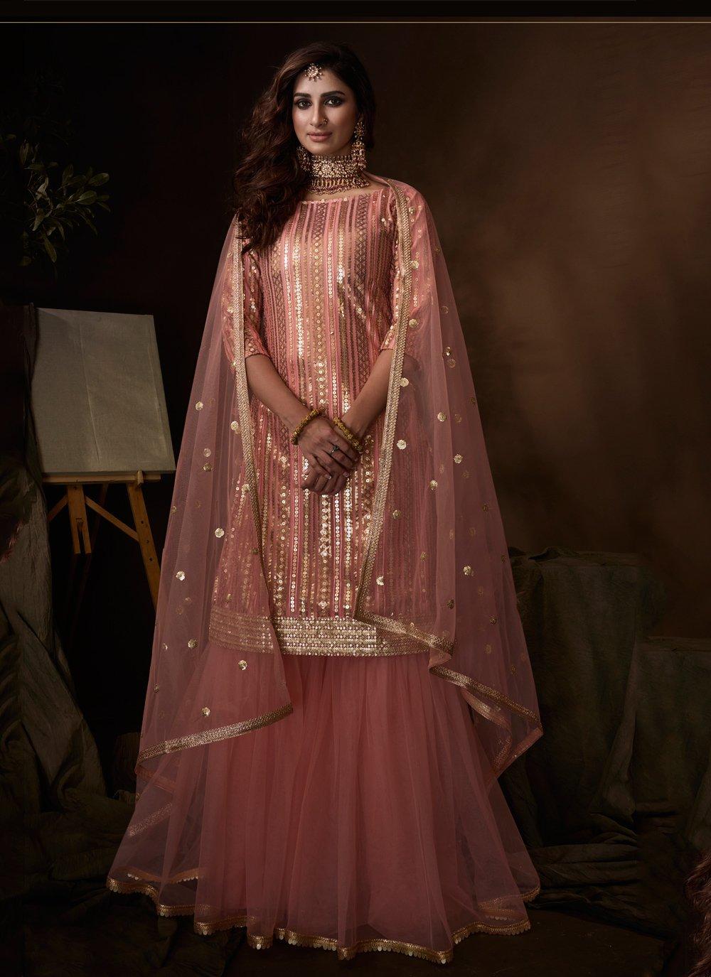 Net Embroidered Designer Palazzo Salwar Kameez in Pink
