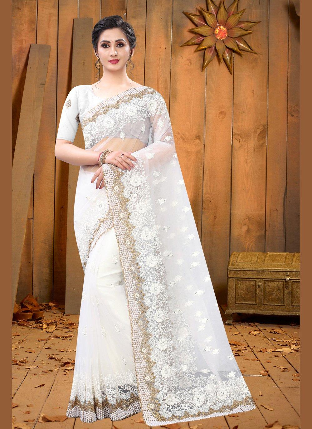 Net Embroidered Designer Saree