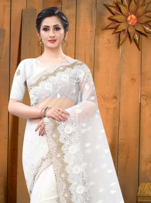 Net Embroidered Designer Saree