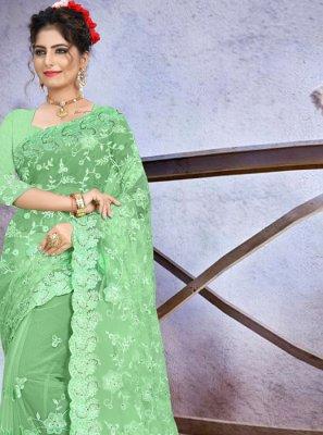 Net Embroidered Green Classic Designer Saree