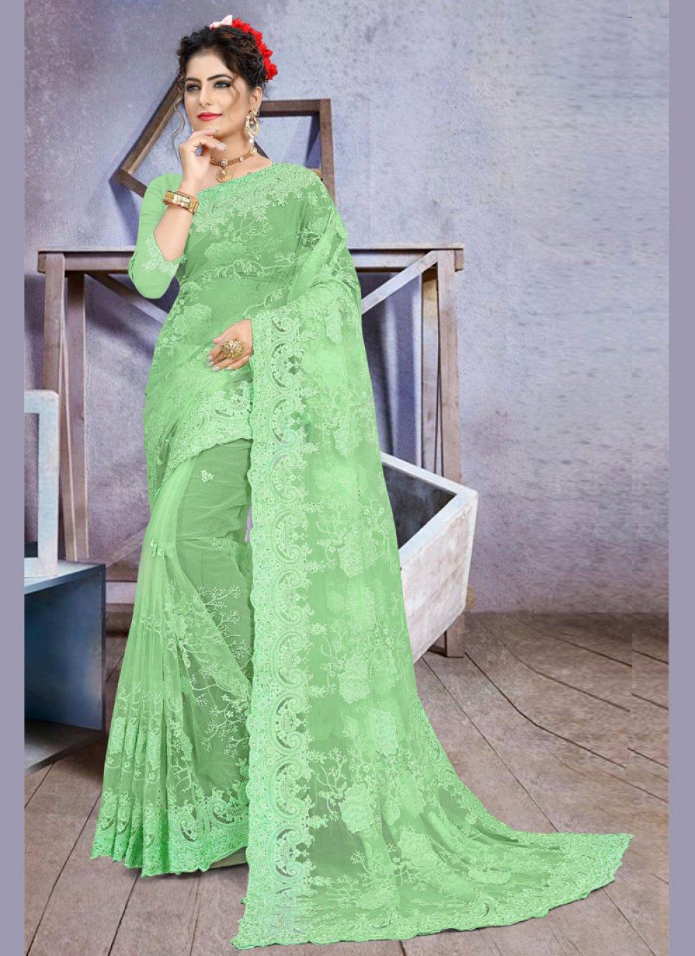 Net Embroidered Green Designer Saree