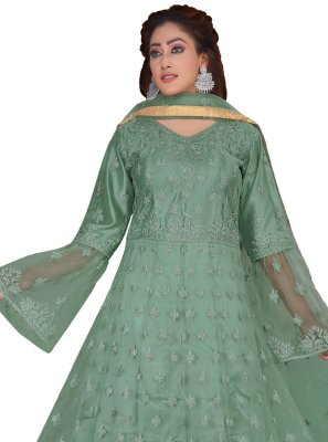 Net Embroidered Green Desinger Anarkali Suit