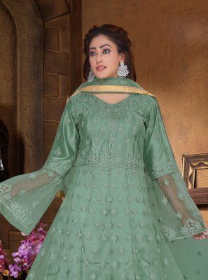 Net Embroidered Green Salwar Suit