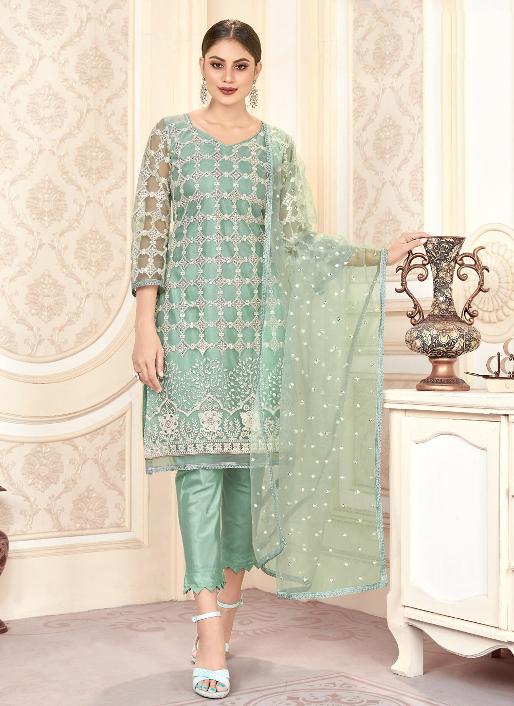 Net Embroidered Green Trendy Designer Salwar Kameez