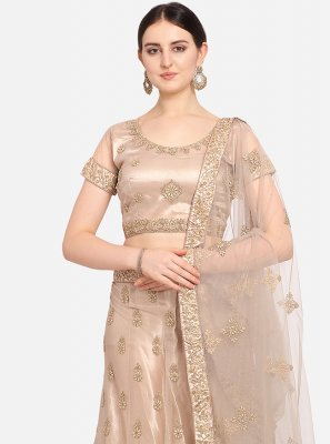 Net Embroidered Lehenga Choli in Beige