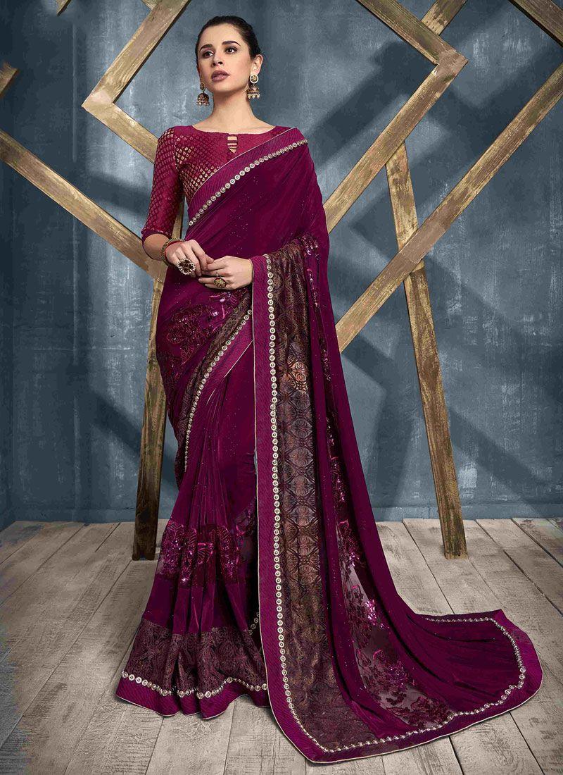 Net Embroidered Magenta Designer Saree