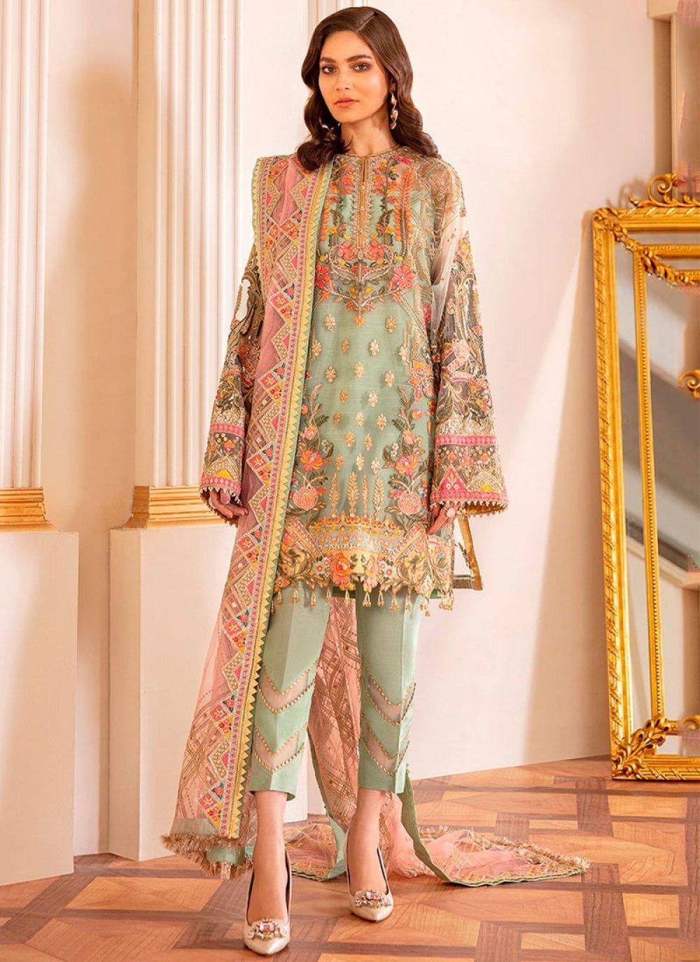 Net Embroidered Multi Colour Pakistani Salwar Suit