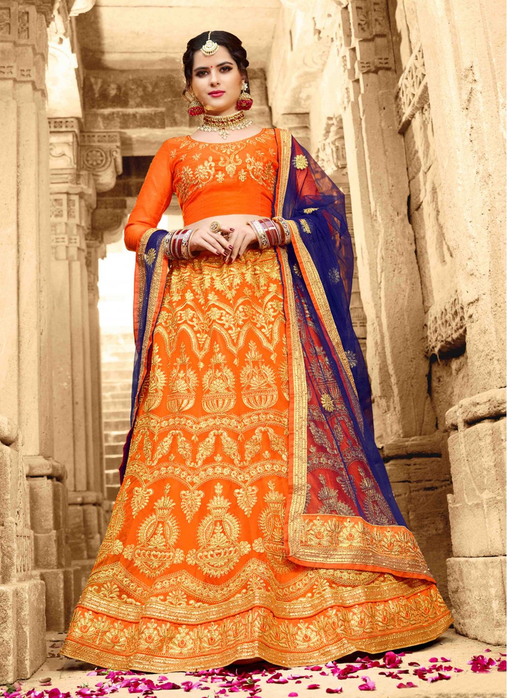 Net Embroidered Orange Lehenga Choli