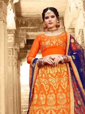 Net Embroidered Orange Lehenga Choli