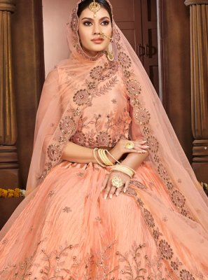 Net Embroidered Peach A Line Lehenga Choli