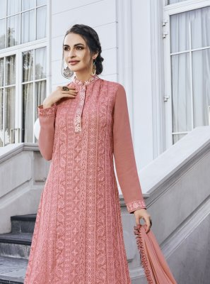 Net Embroidered Peach Palazzo Straight Suit
