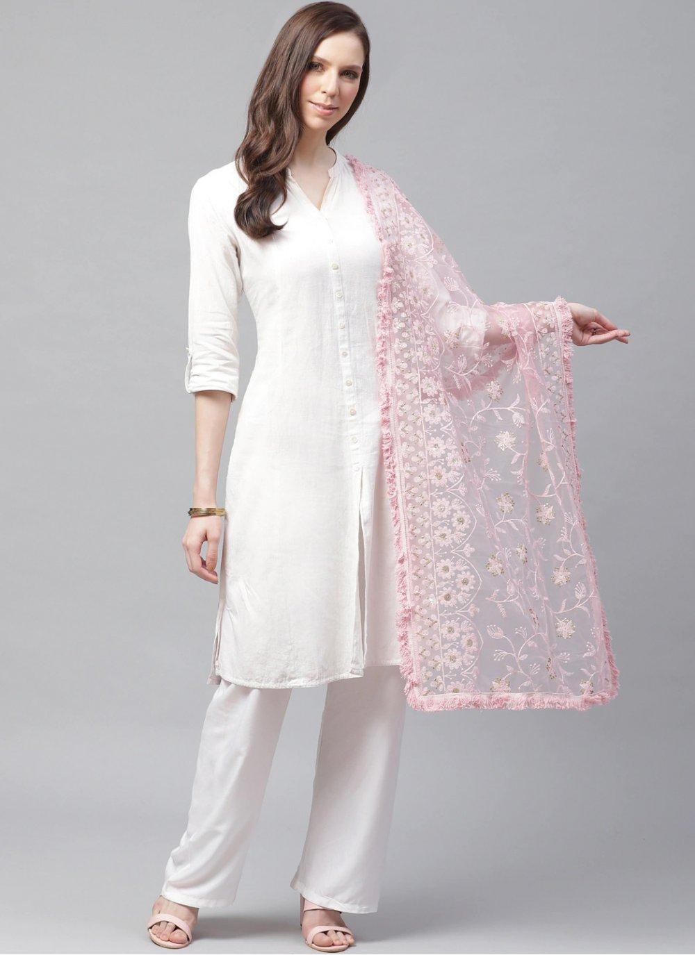 Net Embroidered Pink Designer Dupatta