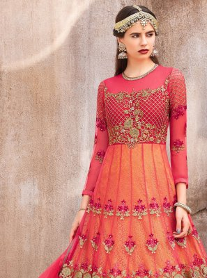 Net Embroidered Pink Designer Floor Length Salwar Suit