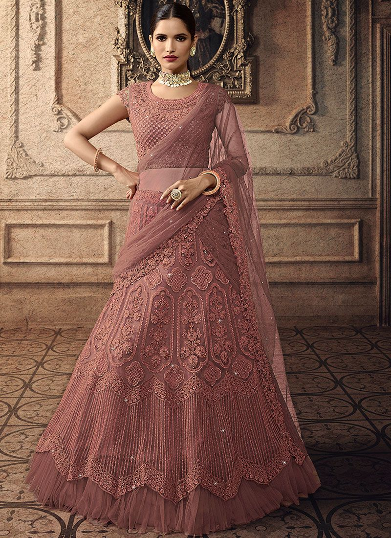 Net Embroidered Pink Trendy Lehenga Choli