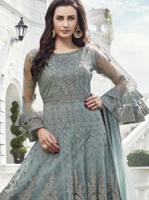 Net Embroidered Readymade Suit in Grey
