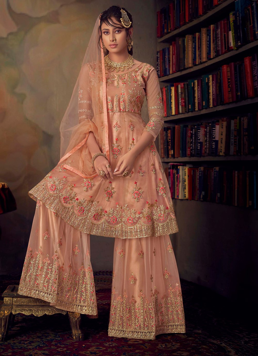 Net Embroidered Salwar Suit in Peach